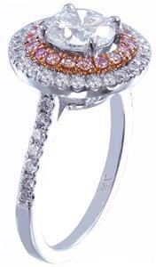 14k White Gold Round Cut Diamond Engagement Ring Pink Diamond Double Halo 1.50ct