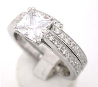 1.15CT PRINCESS CUT DIAMOND ENGAGEMENT RING & BAND SET
