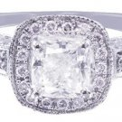 14k White Gold Cushion Cut Diamond Engagement Ring Prong Set Halo Deco 1.45ctw
