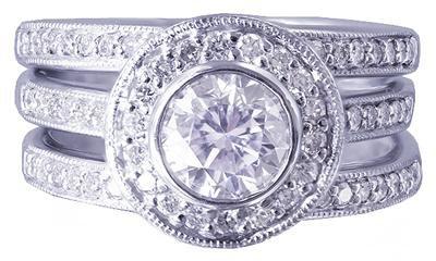 14K WHITE GOLD ROUND DIAMOND ENGAGEMENT RING & BANDS BEZEL SET 2.10CTW