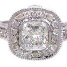 18K WHITE GOLD CUSHION CUT DIAMOND ENGAGEMENT RING BEZEL SET ART DECO 1.73CTW