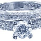 18k Round Cut Diamond Engagement Ring And Band Antique Style Prong Pave 1.70ct