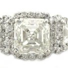 14K WHITE GOLD ASSCHER CUT AND  ROUND CUT DIAMOND ENGAGEMENT RING 2.50CTW