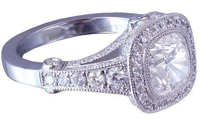 18K WHITE GOLD CUSHION CUT DIAMOND ENGAGEMENT RING BEZEL SET 2.40CT H-VS2 EGL US