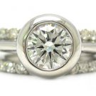 14K WHITE GOLD ROUND DIAMONDS BEZEL ENGAGEMENT RING AND BANDS 2.60CTW