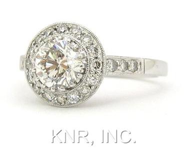 18K WHITE GOLD ROUND DIAMONDS ENGAGEMENT RING ANTIQUE BEZEL 1.39CT