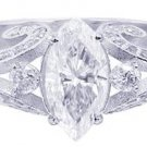 18K WHITE GOLD MARQUISE CUT DIAMOND ENGAGEMENT RING PRONG SET ART DECO 1.60CTW