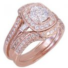 GIA H-VS2 14k Rose Gold Round Cut Diamond Engagement Ring And Bands 2.50ctw