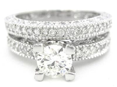 2.15CT DIAMOND ENGAGEMENT RING & BAND ART DECO ANTIQUE