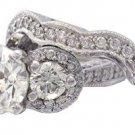 14K WHITE GOLD ROUND DIAMOND ENGAGEMENT RING & BAND 2.70CTW H-SI1 EGL USA