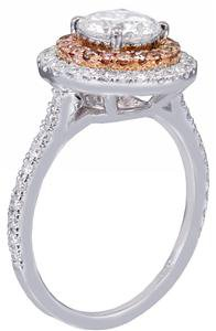 18K WHITE GOLD ROUND CUT DIAMOND ENGAGEMENT RING PINK DIAMOND 2.00CT H-VS2 EGL