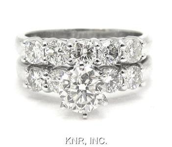 18K WHITE GOLD ROUND DIAMOND ENGAGEMENT RING & BAND DECO 2.08CTW