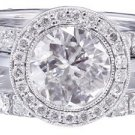 14K WHITE GOLD ROUND CUT DIAMOND BEZEL SET ENGAGEMENT RING AND BANDS 2.40CTW