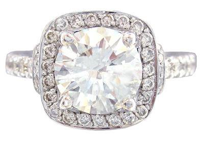 14K WHITE GOLD ROUND CUT DIAMOND ENGAGEMENT RING ART DECO 2.20CTW H-SI1 EGL USA