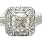 18K WHITE GOLD ROUND CUT DIAMOND ENGAGEMENT RING AR DECO ANTIQUE STYLE 1.62CTW