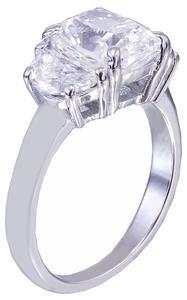 GIA I-SI1 18K WHITE GOLD CUSHION CUT DIAMOND ENGAGEMENT RING 2.80CT