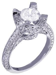 14k White Gold Round Cut Diamond Engagement Ring Art Deco Antique Style 1.85ct