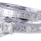 14K WHITE GOLD PRINCESS CUT DIAMOND ENGAGEMENT RING AND BAND SET 2.20CTW