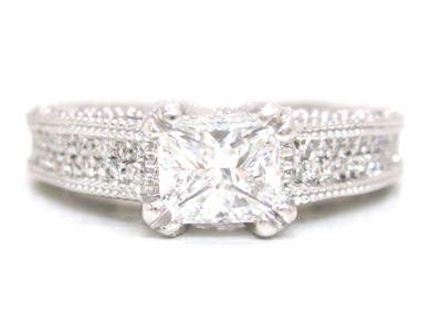 14K WHITE GOLD PRINCESS AND ROUND DIAMOND ENGAGEMENT RING DECO 2.00CT EGL CERT