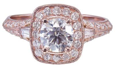 14k Rose Gold Round Cut Diamond Engagement Ring Antique Style Prong Set 1.75ctw