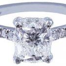 18K WHITE GOLD CUSHION CUT DIAMOND ENGAGEMENT RING ART DECO 1.65CT H-VS2 EGL USA