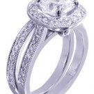 14k White Gold Cushion Cut Diamond Engagement Ring And Band Halo Pave 1.75ct
