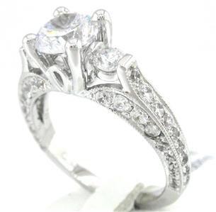 ROUND CUT DIAMOND ENGAGEMENT RING ANTIQUE STYLE 1.90CTW