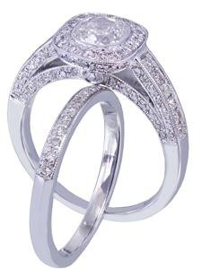 14k white gold cushion cut diamond engagement ring and band 2.00ct I-VS2 EGL USA