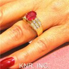 3.62CT OVAL RUBY & ROUND DIAMONDS DECO DESIGN RING