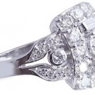 14k White Gold Round Cut Diamond Engagement Ring Art Deco Antique Style 2.40ct