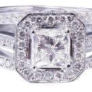 14k White Gold Princess Cut Diamond Engagement Ring Halo Deco Split Shank 2.10ct