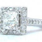 14K WHITE GOLD PRINCESS CUT DIAMOND ENGAGEMENT RING DECO 1.50CTTW EGL USA