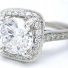 ROUND CUT DIAMOND ENGAGEMENT RING 14K WHITE GOLD ANTIQUE STYLE 2.24CTW