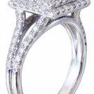 18k White Gold Princess Cut Diamond Engagement Ring Art Deco Split Band 1.30ctw