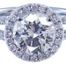 GIA H-VS2 14K White Gold Round Cut Diamond Engagement Ring Split Band 2.15ctw