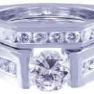 14K WHITE GOLD ROUND DIAMOND ENGAGEMENT RING AND BAND TENSION 2.18CT H-VS2 EGL U