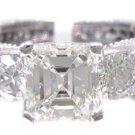 18K WHITE GOLD ASSCHER CUT DIAMOND ENGAGEMENT RING ART DECO ANTIQUE STYLE 2.00CT