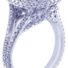 GIA H-VS2 18K White Gold Round Diamond Engagement Ring Antique Deco 3.00ctw