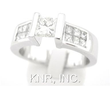 PRINCESS DIAMOND ENGAGEMENT RING TENSION SET 1.27CT