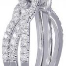 18K WHITE GOLD PRINCESS CUT DIAMOND ENGAGEMENT RING AND BAND HALO SPLIT 1.50CT