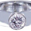 14k White Gold Round Cut Diamond Engagement Ring Semi Bezel Set Solitaire 0.90ct