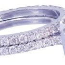 14k White Gold Round Cut Diamond Engagement Ring and Band Art Deco Halo 1.18ctw