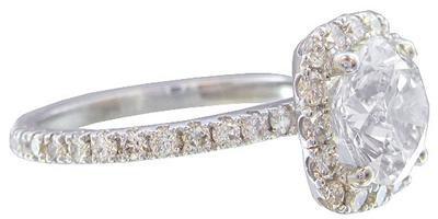 GIA H-VS2 18K White Gold Round Cut DIA Diamond Engagement Ring Halo 2.68ctw