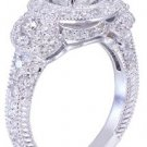 18K White Gold Round Cut Diamond Engagement Ring Deco Halo 2.50ctw H-VS2 EGL USA