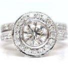 14K WHITE GOLD ROUND DIAMOND ENGAGEMENT RING & BAND BEZEL 1.70CTW