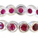 14K WHITE GOLD ROUND CUT RUBY ETERNITY BAND ANNIVERSARY BEZEL SET 0.60CTW