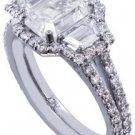 14K WHITE GOLD EMERALD CUT DIAMOND ENGAGEMENT RING ART DECO 2.50CT EGL USA G-VS2
