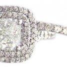 14K WHITE GOLD CUSHION CUT DIAMOND ENGAGEMENT RING AND BAND PRONG SET 1.65CTW