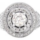 14K WHITE GOLD ROUND DIAMOND ENGAGEMENT RING ART DECO DESIGN 1.55CTW