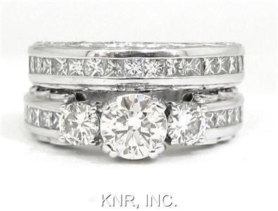ROUND & PRINCESS DIAMOND ENGAGEMENT RING ANTIQUE 2.21CT